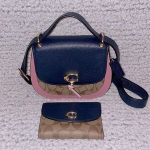 NWOT Coach Remi Colorblock Saddle Bag & Wallet Set